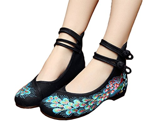 Chinese Traditional Costume For Girls (AvaCostume Peacock Embroidery Spangly Beading Girls Platform Prom Dress Shoes, Black, 39)