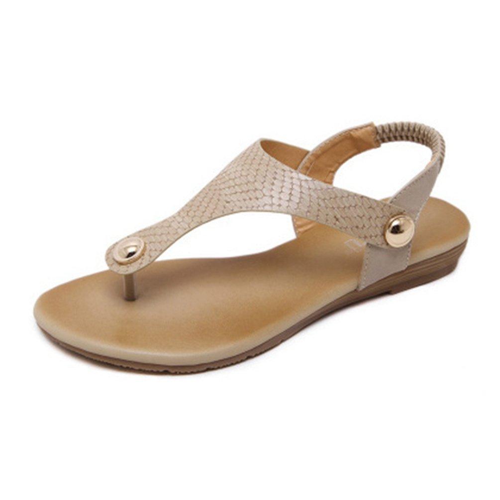 JITIAN Fashion Frauens Flip Flops Sandalen mit Metallschnallen Low Wedge Heel Elastisch Sommer Strand Tanga Schwarz  37 EU|Beige