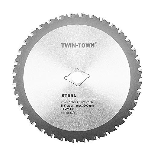 TWIN-TOWN 7-1/4-Inch 36 Tooth Steel and Ferrous Metal Saw Blade with 5/8-Inch DMK Arbor - Cut Circular Saw Off Blade