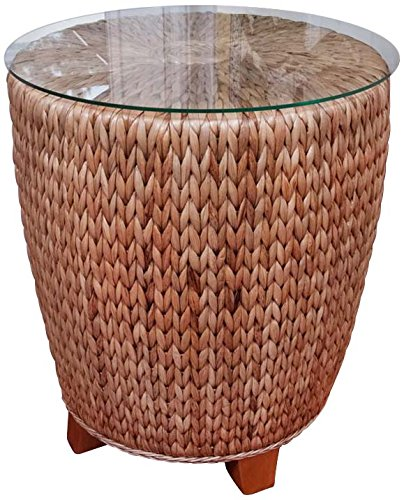 Water Mirror Hyacinth Round (Alexander & Sheridan KEY026-AH Key Largo Round End Table in Antique Honey Finish with Glass)