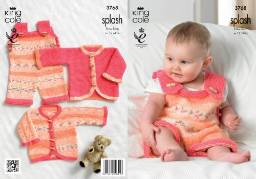 King Cole Double Knitting Pattern Splash DK Baby Set Knitted Dungarees & Cardigans (Baby Dk Pattern)