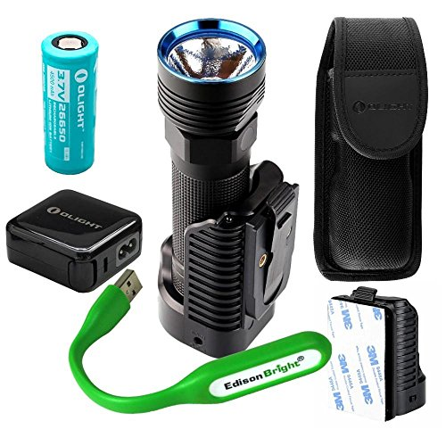 Olight R50 Pro SEEKER LE 3200 Lumen CREE LED USB rechargeable searchlight/flashlight, charging dock, rechargeable battery with EdisonBright USB reading light bundle. 5 Years Manufacturer Warranty