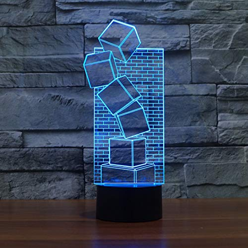 WANGWEIZHEN 3D Illusion Colorful Led Table Lamp Touch Cool Style Night Light Christmas Prank Gifts Romantic Holiday Cute Creative Gadget 7 Color Change Touch