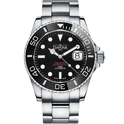 Best Divers Watch (Davosa Swiss Made Men Watch, 200 Pieces Limited Edition Automatic Analog Ternos Professional 16155951 for 300 Meters, Stainless Steel Wrist Band)