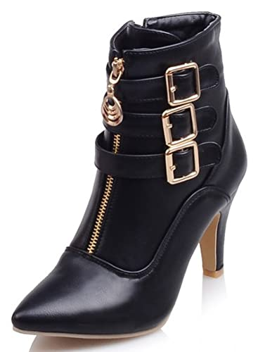 Women's Dressy Buckled Pointed Toe High Block Heels Side Zip Up Ankle Boots Short Booties