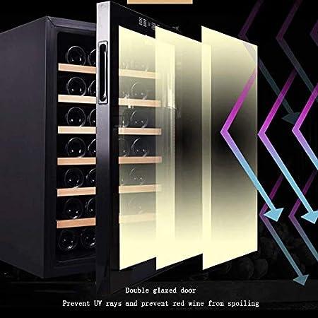 YFGQBCP 16 Botella termoeléctrica Vino Tinto y Blanco de Refrigeración/Chiller Mostrador Bodega con Digital Pantalla de Temperatura, Tranquilo, Independiente Frigorífico Cristal Ahumado Puerta Opera