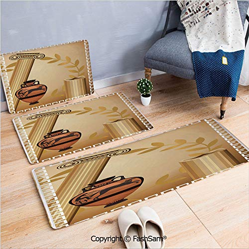 - FashSam 3 Piece Flannel Doormat Antique Greek Columns Vase Olive Branch Hellenic Heritage Icons for Kitchen Rugs Carpet(W15.7xL23.6 by W19.6xL31.5 by W17.7xL53)