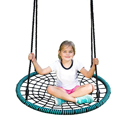 Rhino Rope Toy - Play Platoon Spider Web Tree Swing - 40 Inch Diameter, Fully Assembled, 600 lb Weight Capacity, Easy to Install
