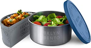 Stainless Steel Food Container With Silicone Food Separator and Leak Proof Silicone Lid | Metal Lunch Box | Bento Box | Nesting Food Storage | Portion Control Snacks | Baby Kids Adults [2 PCS Set]