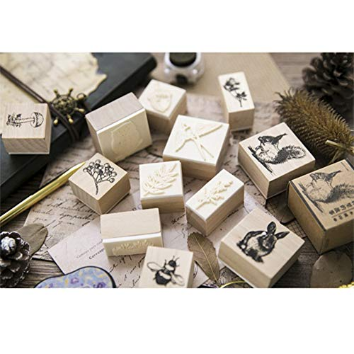 12pcs Wooden Rubber Stamps Animals and Plants Patterns Stamps Set for DIY Craft Card Scrapbooking Supplies by Co-link (Image #7)