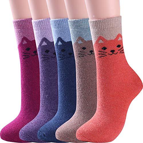 5 Pairs Womens Wool Socks Thick Warm Winter Vintage Knit Thermal Socks (Cat)
