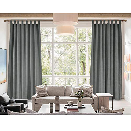 Curtain Liz (cololeaf Tab Top Curtain Liz Faux Linen Curtains Drapery Panel for Traverse Rod Ring Clip or Track for Living Room Bedroom,Carbon Grey 100W x 96L Inch (1 Panel))