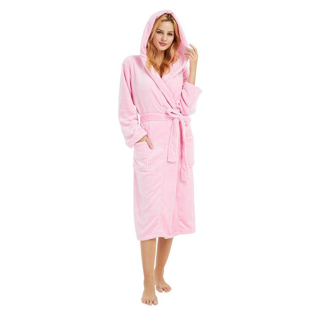 ❤️ Womens Long Sleeve HoodedLengthened Coat Fleece Robes, Soft Warm Plush Bathrobe Robe for Spa Shower (S, Pink)