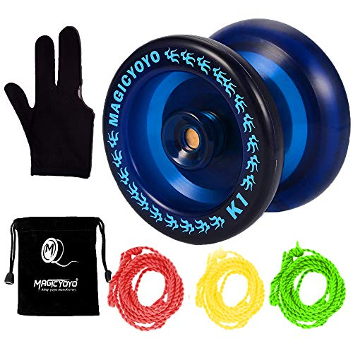 MAGICYOYO Responsive YoYo K1-Plus with Yoyo Sack + 3 Strings and Yo-Yo Glove Gift (Blue) ()