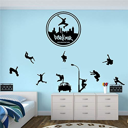 Kionse Wall Stickers Art DIY Removable Mural Room Decor Mural Vinyl Free Running Jumping Urban Style Skate Graffiti Art Home Decorations for Teen for Kids Boys Bedroom