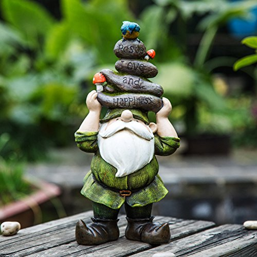 Ivy Home Outdoor Decorative Garden Statue,Gnome Held Stones His Head by Ivy Home
