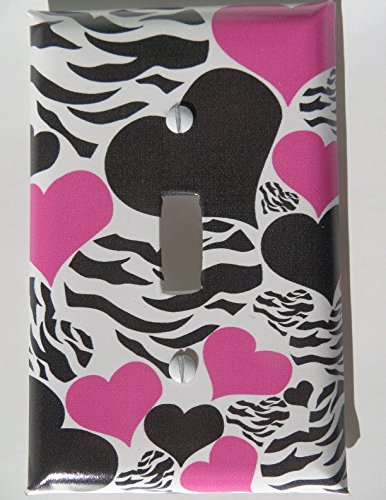 - Zebra Print Hearts Light Switch Plate Covers / Childrens Wall Decor in Hot Pink and Black