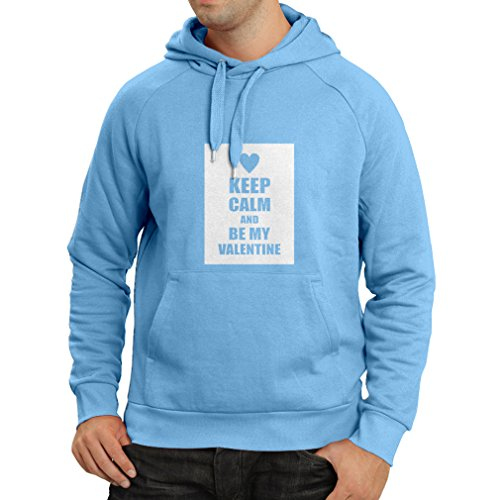 lepni.me Hoodie Keep Calm and Be My Valentine - I Love You Quotes, Gifts (X-Large Blue White) (Uk Sets Gift Starbucks)