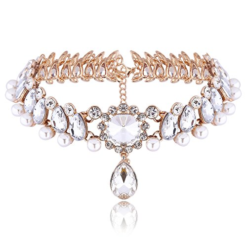 Houda Elegant Pearl Collar Choker Crystal Jewelry Rhinestone Statement Necklace Pendant (Authentic Joker Costume)