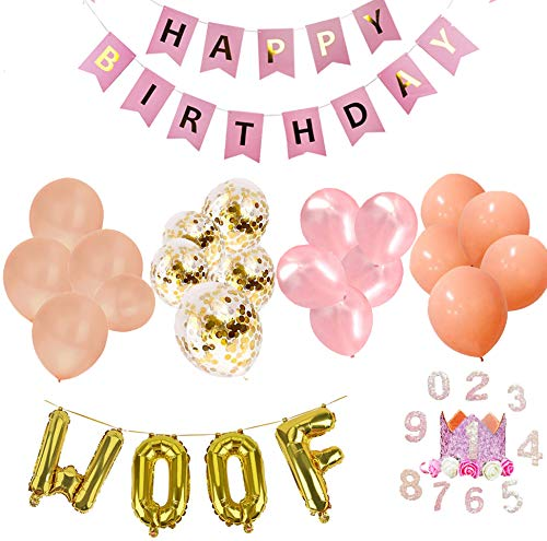 JPB Girl Dog Birthday Party Supplies, Pet Birthday Crown/20 Pieces Pink Balloons/Happy Birthday Banner/WOOF Letter Latex Balloons]()