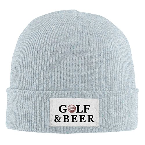 Golf And Beer Acrylic Beanie Knit Hat Ash ()