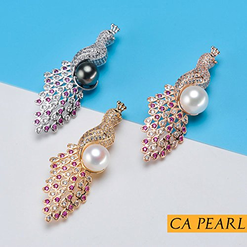 DIY accessories thick gold plating process Micro Pave diamond peacock brooch pearl brooch pectoral paragraph coat pin mountings (Pave Micro Mounting)