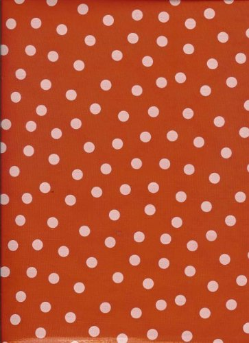 Oilcloth - Polka Dots, White Dots on Red - White Bias Apron