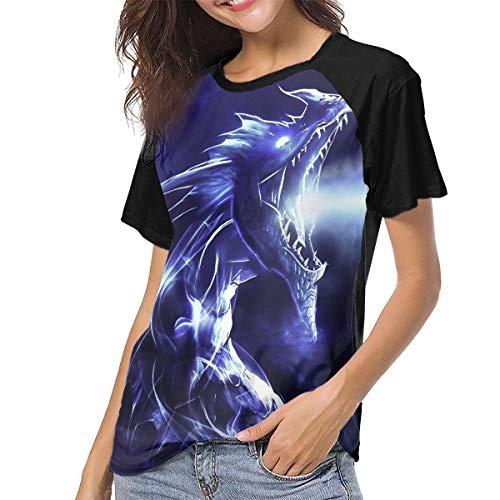 T-shirt Dragon Breathing Fire (Women's Jersey Shirt Baseball Tee Fire Breathing Dragon Fashion Crew Neck Short Sleeve Raglan T-Shirts Tops Blouse Black)
