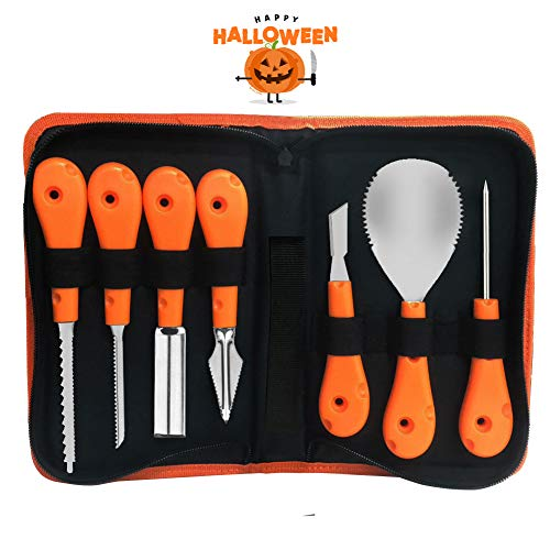 EVNEED Halloween Pumpkin Carving Kit,Professional and Heavy Duty Stainless Steel Tools,Pumpkin Carving Set with Carrying Case (7 pcs)