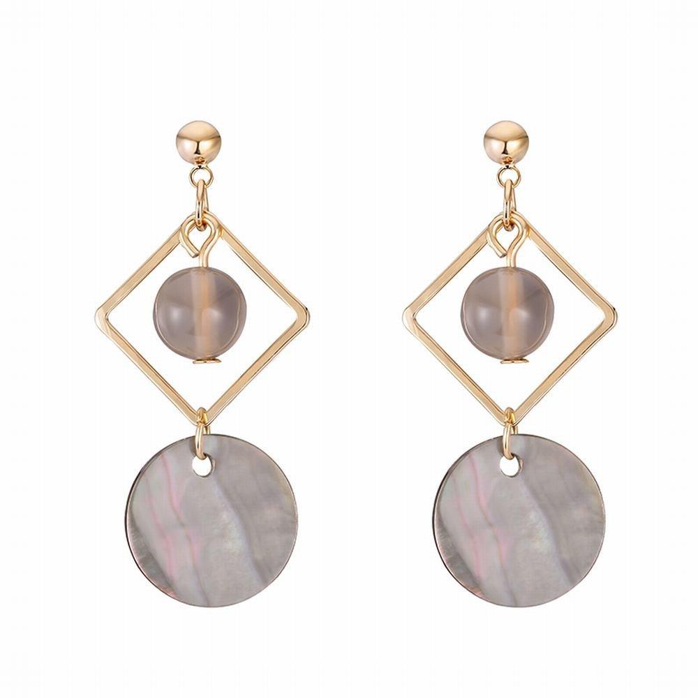 Ling Studs Earrings Hypoallergenic Cartilage Ear Piercing Retro short shell earrings simple geometric diamond earrings without pierced ear clips