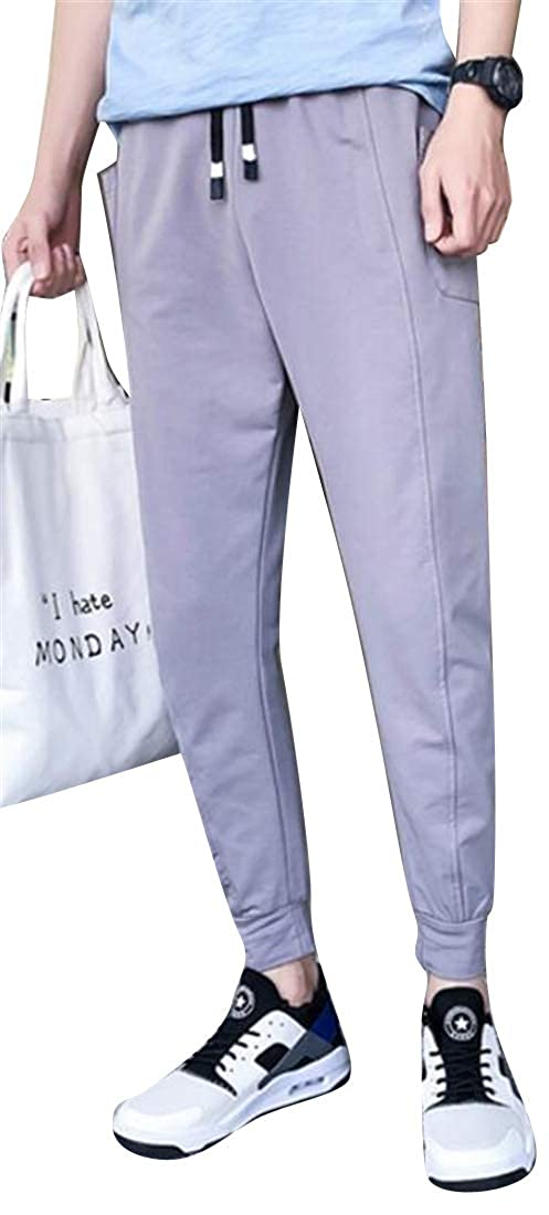 DFBB Mens Jogging Pants Ankle Plus Size Drawstring Cotton Elastic Waist Relaxed Fit Casual Pants Trousers