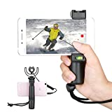 Smartphone Grip Handle Rig with Wrist Strap, Phone Video Tripod Mount Adapter & Cold Shoe Mount for Led Video Light and Microphone - For iPhone, Samsung, HTC, Huawei, Google, Android