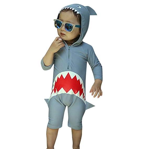 Berimaterry Traje de Baño de los Tiburones de Manga Larga del Bebé ...