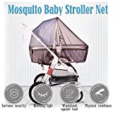 Mosquito Net for Strollers, Baby Carriers, Infant Car Seats Cradles, Washable Universal Size Bug Cover with Hook - Brown