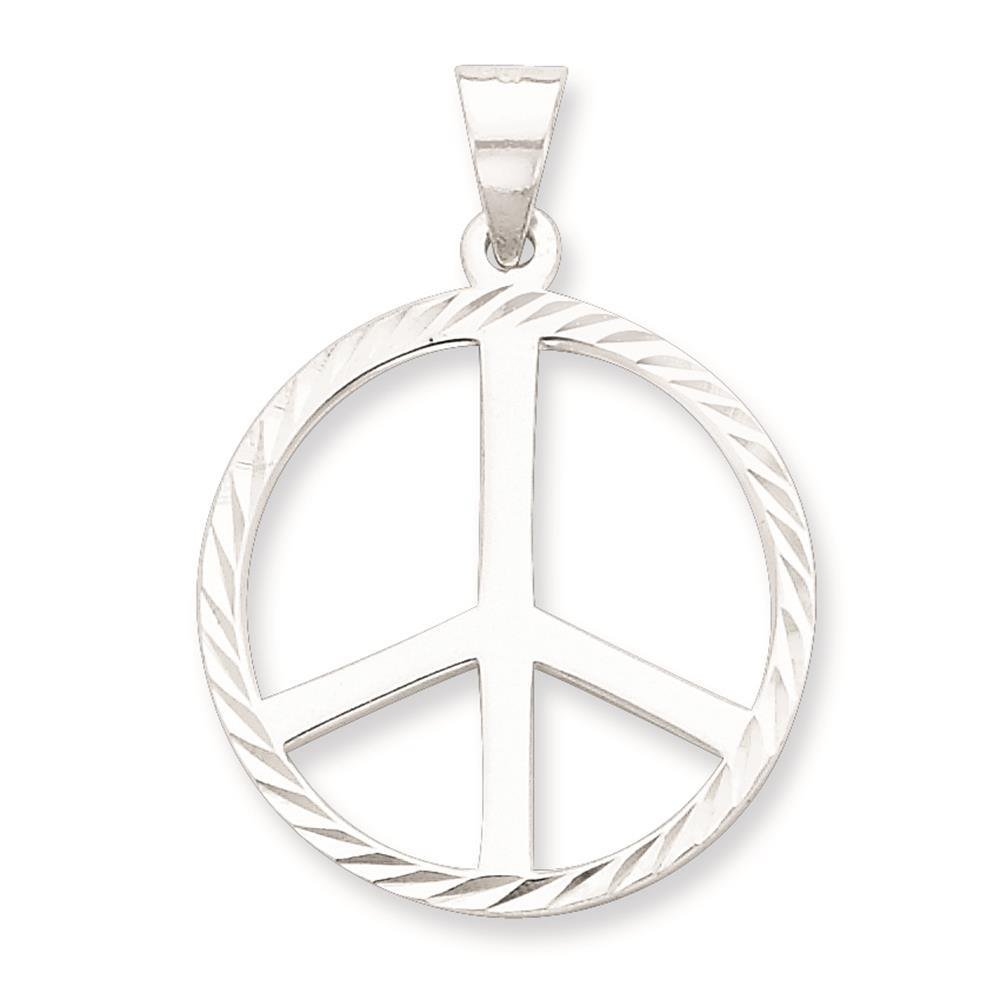 925 Sterling Silver Polished /& Diamond-Cut Peace Symbol Charm Pendant