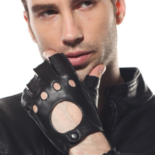 WARMEN Classic Mens Real Leather Motorcycle Driving Fingerless Backless Unlined Gloves (S, Black) ()