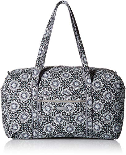 (Vera Bradley Iconic Large Travel Duffel, Signature Cotton, Charcoal Medallion, charcoal medallion, One Size)