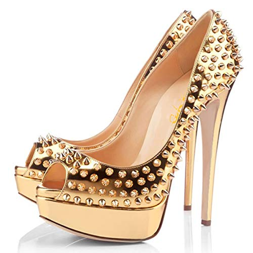 XYD Women Peep Toe Rivet Studded Pumps Stiletto High Heels Platform Slip On Prom Evening Party Dress Shoes Size 14 Gold