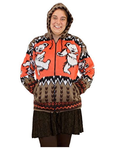 Grateful Dead Alpaca Style Zip Up Hooded Sweater Jacket Dancing Bears Tan/Orange Small