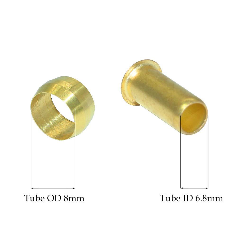 8mm OD 6.9mm ID Compression Sleeve Ferrules and Insert Tube Support Crimp Ferrule Stiffener Combo 10 Pcs Beduan Brass Compression Fitting