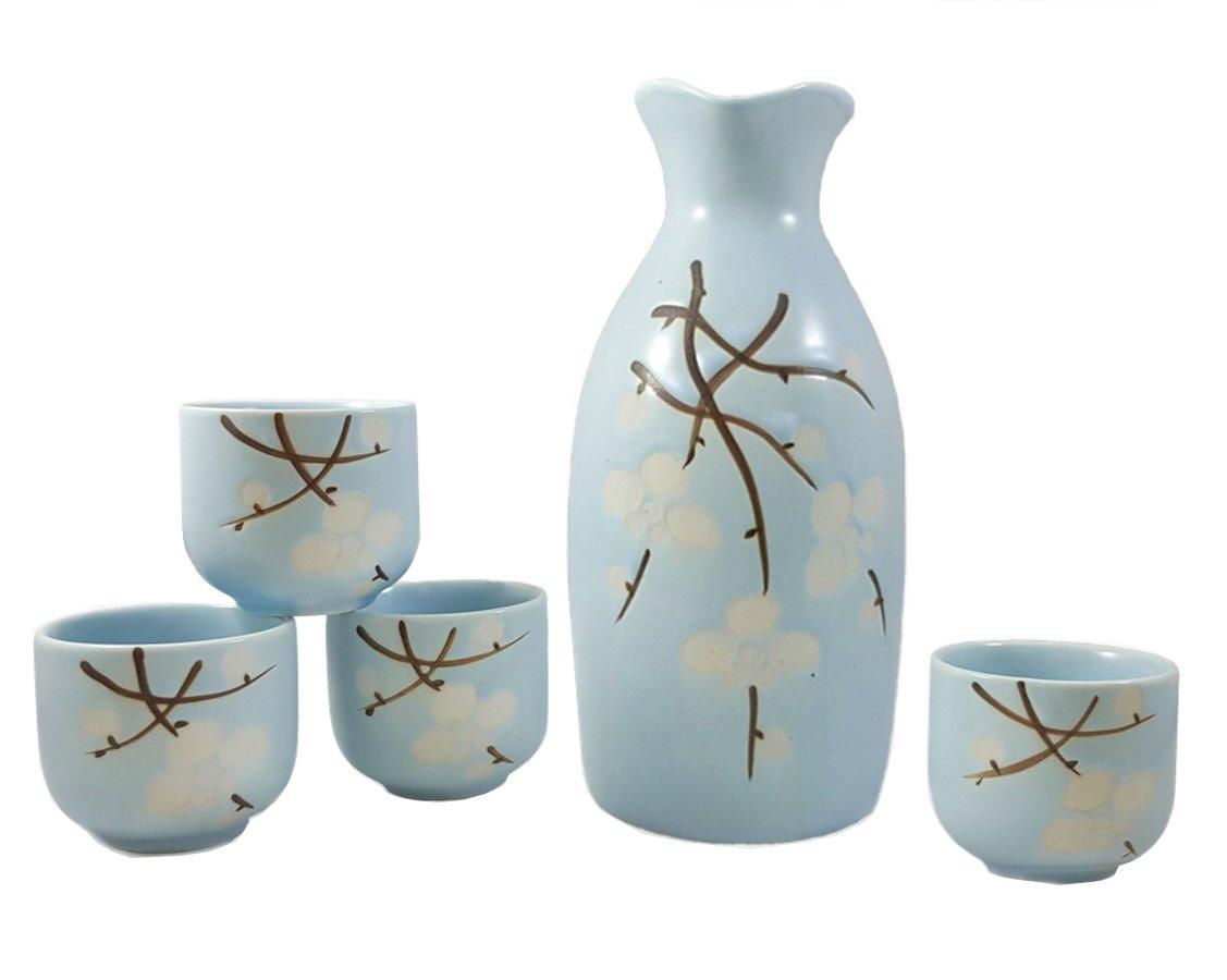 Happy Sales HSSS-SBB01, Spring Blossom 5 pc Sake Set Light Blue