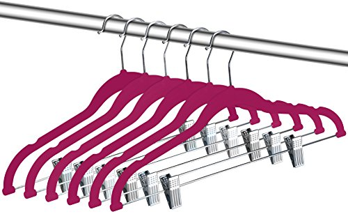 Zoyer Velvet Clothes Hangers With Clips - 12 Pack - Velvet Skirt Hangers - Non-Slip Pant Hangers (Pink)