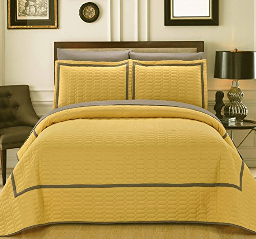 Selby 3 Piece Hotel Collection 2 tone banded Quilted Geometrical Embroidered, Queen Quilt Set Yellow ()
