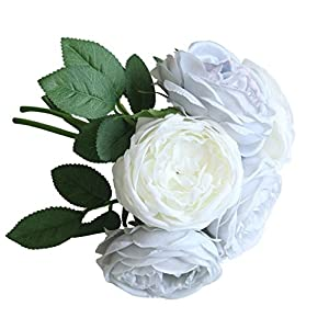 YLCOYO Flowers, Artificial Fake Rose Silk Flowers 5 Flower Head Leaf Garden Decor Bridal Bouquet 1