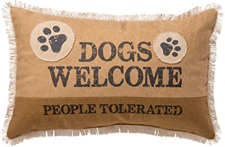 Primitives by Kathy Canvas Patched Throw Pillow, 19 x 12-Inch, Dogs Welcome
