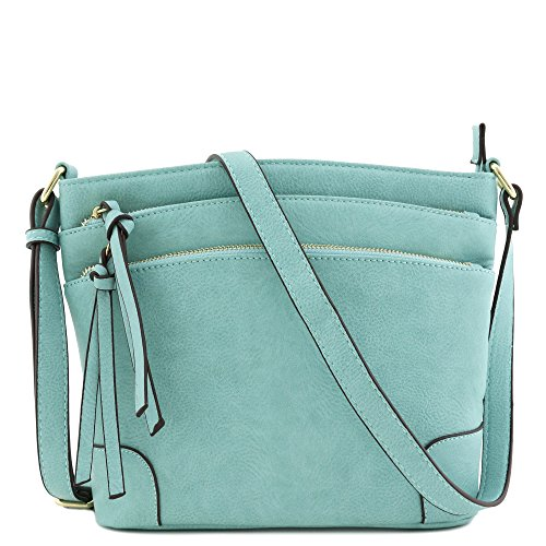 Triple Zipper Pocket Medium Crossbody Bag (Bluebell) by FashionPuzzle