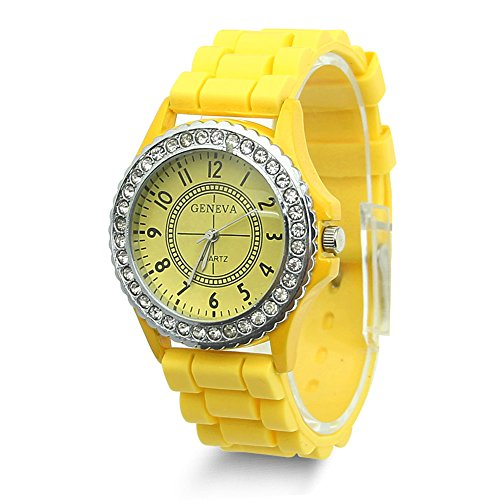 Estone Geneva Fashion Crystal Jelly Gel Silicon Girl Women's Quartz Wrist Watch (Yellow)