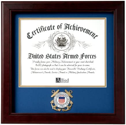 Amazon Com Allied Frame United States Coast Guard Certificate Of Achievement Frame With Medallion 8 X 10 Inch Home Kitchen