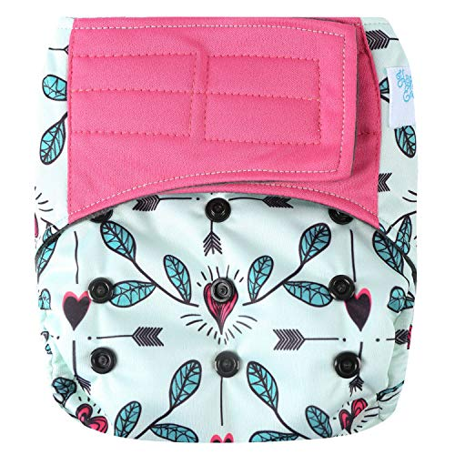 """HappyEndings Contoured""""Day or Night"""" All in One AIO Hook and Loop Cloth Diaper (+Pocket) (Cupid"""