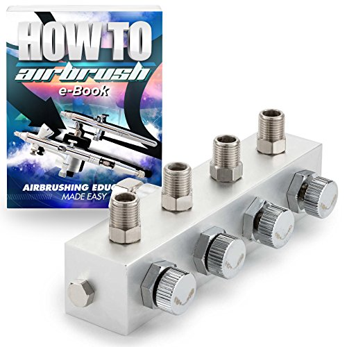 PointZero Airbrush Manifold 4-Way Air Hose Splitter 1/8 in BSP Taps